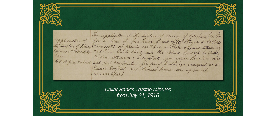 Dollar Bank loan to Sisters of Mercy, 1916